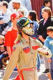 Firefighter wearing a golden helmet parading at the celebration. Campo Grande, Brazil - August 26, 2018: Civic Parade desfile civico at 13 de Maio street stock photo