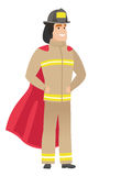 Firefighter wearing a red superhero cloak. Full length of firefighter dressed as superhero. Successful firefighter superhero in red cloak. Vector flat design Stock Photos
