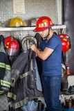 Firefighter Wearing Uniform Royalty Free Stock Photography