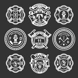 Firefighter White Label Set. Firefighter white label or stripes set on form for firefighters on a black background vector illustration Royalty Free Stock Photography