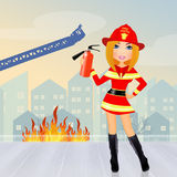 Firefighter woman. Cute illustration of Firefighter woman Royalty Free Stock Image