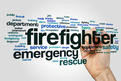 Firefighter word cloud concept on grey background Stock Image
