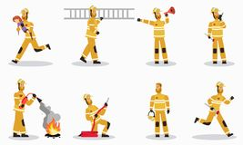 Firefighter at Work Cartoon Vector Characters Set stock illustration