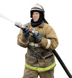 Firefighter working with fog nozzle. Isolated on white background Royalty Free Stock Image