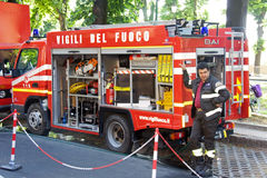 Firefighters. Fireman on Giro d'Italia (Tour of Italy) - Cycling Stock Photography