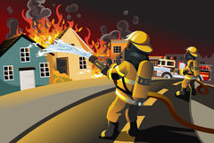 Firefighters. A vector illustration of firefighters trying to put out burning houses Royalty Free Stock Photography