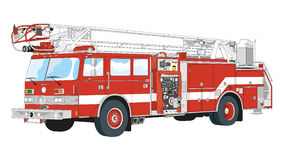 Firefighters. Emergency vehicle equipped for fire-fighters Royalty Free Stock Photos