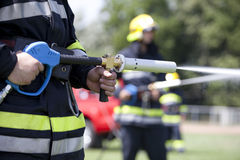 Firefighters. In action.  training Stock Photo
