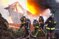Firefighters in action. Group of firefighters in front of a dutch farm on fire Stock Photos