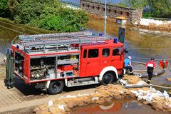 Firefighters in action in Magdeburg Royalty Free Stock Photography