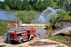 Firefighters in action in Magdeburg Royalty Free Stock Photos