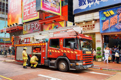 Firefighters arrived on the challenge to the shopping mall of Ho Stock Image