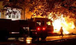 Free Firefighters At Fire, Controlling The Blaze. Royalty Free Stock Photography - 45740157