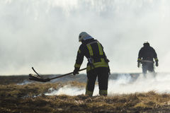 Firefighters battle a wildfire. In spring Stock Images