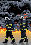 Firefighters and a Big Fire. In the Background - Detailed Illustration, Vector Stock Photography