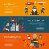 Firefighters Brigade Flat Banners Webpage Design. Firefighters 3 flat horizontal banners webpage for information on fire alarm in building abstract isolated Stock Photo