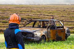 Firefighters Car Fire rice stubble. Stock Images
