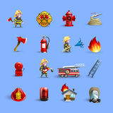 Firefighters Cartoon Icons Red Blue Set. Fire department firefighting brigade service ammunition and accessories modern styled cartoon red icons set isolated Stock Image