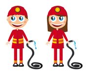 Firefighters cartoons. Man and woman firefighters cartoons with fire hose vector Royalty Free Stock Images