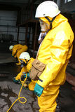 Firefighters in chemical protection suit Royalty Free Stock Images