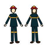 Firefighters couple. Over white background vector illustration Royalty Free Stock Photo