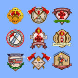 Firefighters Emblems Labels Collection. Fire dept quality labels emblems and firefighters department equipment markers colorful pictograms collection abstract Royalty Free Stock Photos