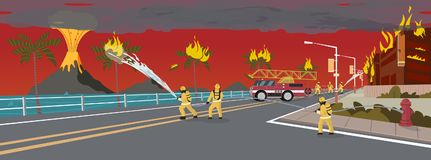 Firefighters on Truck Extinguish Volcano Eruption. Firefighters with Engine Fire Truck Extinguish Real Estate House at Resort Beach. Cartoon Character Work on vector illustration
