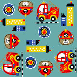 Firefighters equipment pattern vector Stock Photos