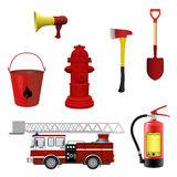 Firefighters equipment set. Vector illustration Stock Images