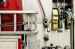 Firefighters equipment in a truck Stock Photography