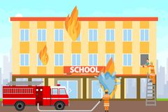 Firefighters extinguish a burning building. Firefighters on a fire truck extinguish the school building with water. Vector illustration of extinguishing the vector illustration