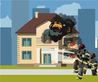 Firefighters extinguish a burning house. Vector illustration stock illustration