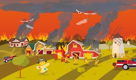 Firefighters Extinguish Farm. Concept Forest Fire. Firefighters with Engine Fire Truck Extinguish Real Estate Farm House at Village by Water and Helicopter stock illustration