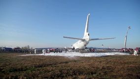 Firefighters extinguish the fire in the airport stock video footage