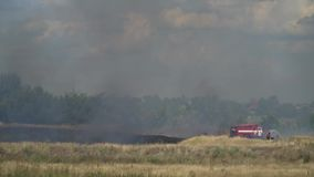 Firemen near a fire engine extinguish water from a hose fire in the field during the day. Firefighters extinguish the fire in the field stock video