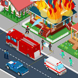 Firefighters Extinguish a Fire in House Isometric City. Fireman Helps Injured Woman. Vector 3d Flat illustration stock illustration