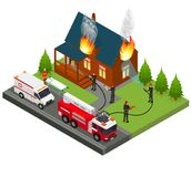 Firefighters Extinguish Fire at House Isometric View. Vector. Firefighters Extinguish Fire at House Isometric View Emergency Service Protection Concept. Vector Stock Image