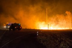 Firefighters extinguish a forest fire. Forest fire at night. royalty free stock photo