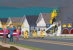 Firefighters Extinguish House. Insurence Concept. Firefighters with Engine Fire Truck Extinguish Real Estate House at Town. Cartoon Character of Family take Royalty Free Stock Photography