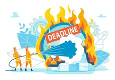 Firefighters Extinguish Inscription Deadline. Habit Disrupting Timing due Lack Consequences or Punishment. Close-up Pile Papers and Hourglasses Burning with vector illustration