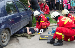 Firefighters extricating victim Royalty Free Stock Image