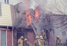 Firefighters fighting a fire at a townhouse in Palmer Park, Maryland stock photography