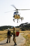 Firefighters fighting a huge bushfire in Portugal Stock Photo