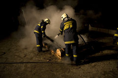Firefighters at fire Royalty Free Stock Image