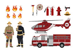 Firefighters and fire fighting equipment on a white background. Helicopter and fireman`s car. Icons of flame and items. Vector illustration Stock Images