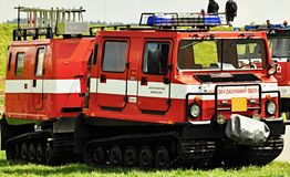 Firefighters fire-fighting vehicles Royalty Free Stock Photo