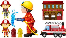 Firefighters and fire station. Illustration Royalty Free Stock Photos