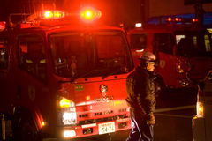 Firefighters fire in Tokyo royalty free stock photos