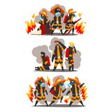 Firefighters with firefighting equipment, firemen characters in uniform and protective masks at work vector Illustration. Isolated on a white background royalty free illustration