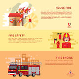 Firefighters 3 flat horizontal banners. Webpage for information on fire alarm in building. flat icons composition abstract  vector illustration Royalty Free Stock Images
